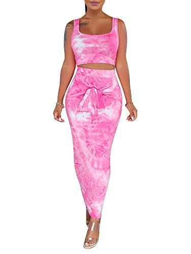 Two Piece Outfits for Women Sexy Sleeveless Tie Dye Print Tank Crop Top Bodycon Tie Skirts Set 2 Piece Midi Dress Outfits Rose Red 2 Piece Dress Tights