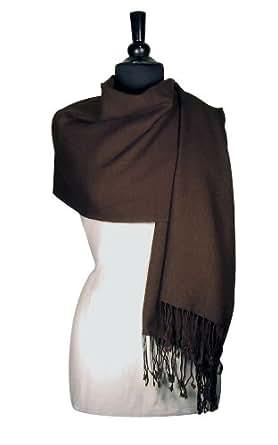 100% Pashmina Dark BROWN Shawl Wrap. Woman's Scarf.
