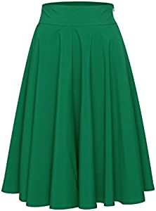 PERSUN Women's Green Flared High Waisted A line Street Skirt…