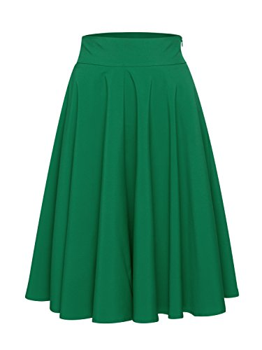 PERSUN Women's Green Flared High Waisted A line Street Skirt Skater Pleated Midi Skirt