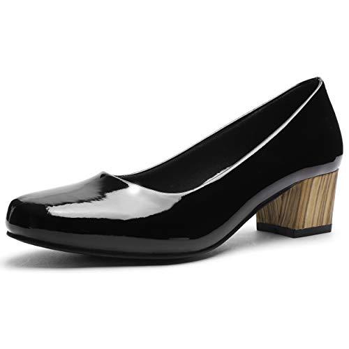 (GUCHENG Chunky Heels Pumps Low Shoes Women's - Dress Ladies Heel Comfortable - Formal Width Black Brown White Wedding Shoes (9 M US, Black Mirror)