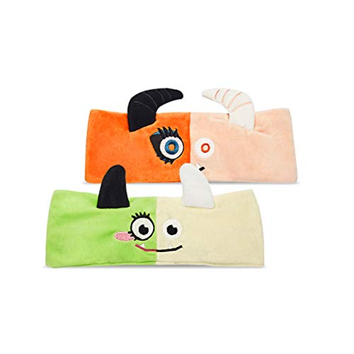 Etude Women Monster Cleansing Band Facial Spa Headband Washing Makeup Cosmetic Shower Soft Hair Band Halloween Gift Set of 2 -