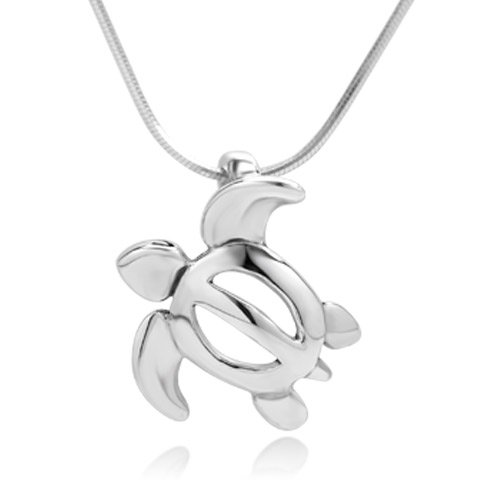 925 Sterling Silver Sea Turtle Open Charm Sea Life Pendant Necklace, 18 inch Snake (Silver Turtle Necklace)