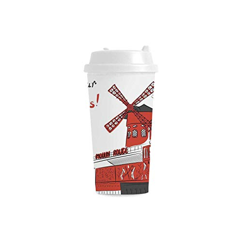 - Paris Environmental Double Wall Plastic Mug,Sketch Art of Urban Landscape with Cabaret Moulin Rouge in Paris Modern City Decorative for house,3.5