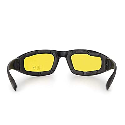3-Pack Motorcycle Glasses – Foam Padding – Anti-Wind & Dust – Polycarbonate Lens (Yellow): Automotive