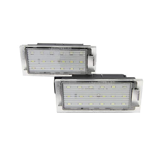 Rgrtmer 1 Pair Car LED Number License Plate Light SMD 3528 Replacement for Renault Megane 2 Clio Laguna 2 Megane 3 ()