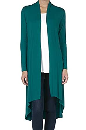 SHOP DORDOR 9033 Women's Long Sleeve Duster High Low Hem Long Open Front Drape Maxi Cardigan Dark Teal S