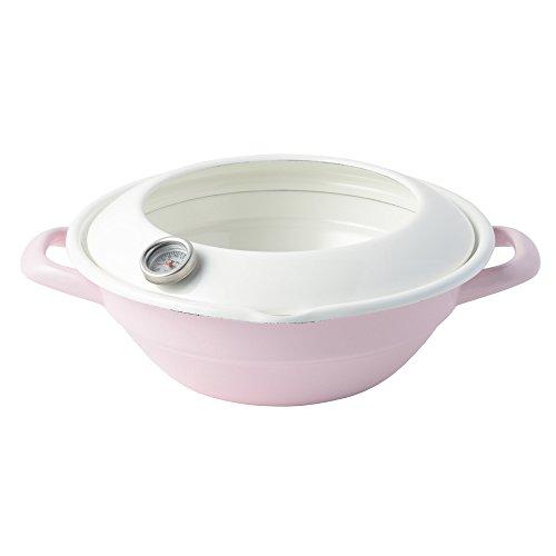 후지 법랑 (Fuji Horo)  튀김과 24cm 온도계 부착 와 핑크 IH대응 TP-24