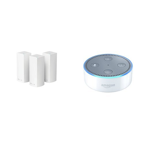 Linksys Bundle - Linksys Velop Tri-band AC6600 Whole Home WiFi Mesh System 3-Pack + All-New Echo Dot (2nd Generation) - White Bundle