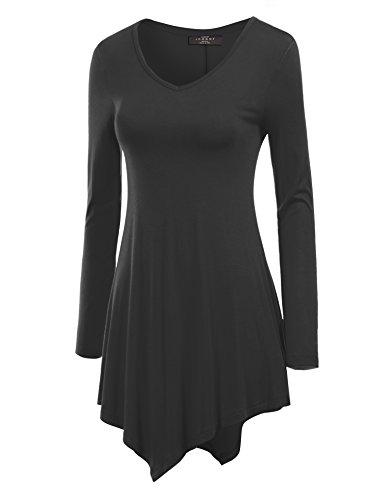 Mbj Wt737 Womens Long Sleeve Handkerchief Tunic M Black