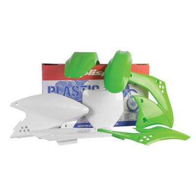 - Polisport Complete Replica Plastic Kit 2005 Green/White for Kawasaki KX85 2001-2013