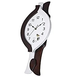 MGE UPS Systems Clock Wall Clock,Clock Wall Clock Creative European Clock Wall Clock Living Room/Study/Hallway Mute Clock Solid Wood Quartz Clock (Color : White)