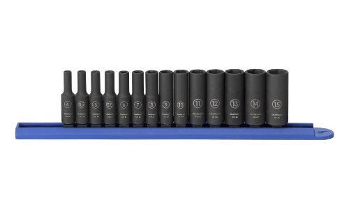 GEARWRENCH 84909 1/4-Inch Drive Impact Socket Set Deep Metric, 14-Piece