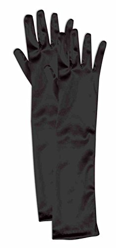 Forum Child Opera Satin Gloves, Black (Halloween Black Dress Costumes)