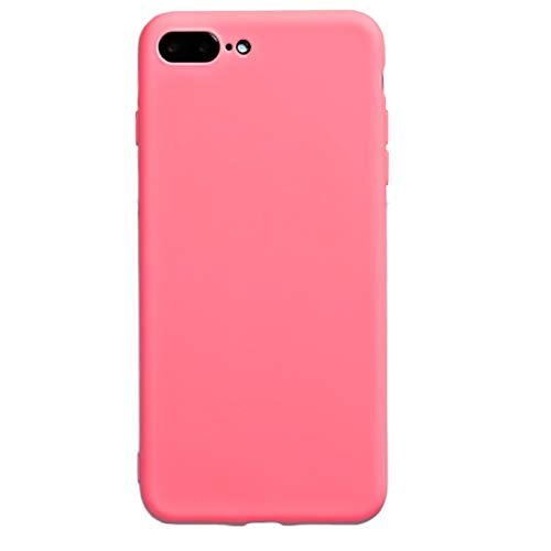 iEugen Designed Specifically for iPhone 8 Plus iPhone 7 Plus 5.5,Ultra-Thin & Ultra-Light Bumper,Soft Touch Shock-Absorbent Slim Fit Shell TPU Full Protective Anti Scratch Resistant Cover Case - Pink ()