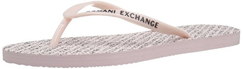 A|X Armani Exchange Womens Armani Exchange All Over Logo Flip Flop Classic Printed Ax Flip Flop Pale Rose