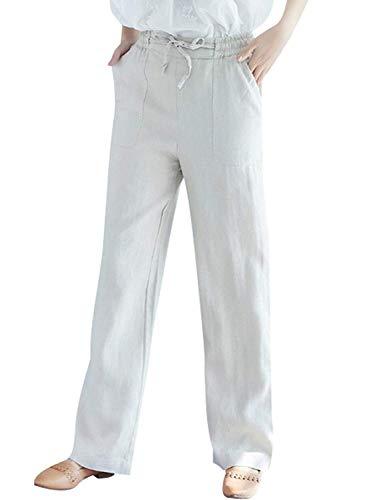Lannister Baggy Lino Libero Colori Tempo Vita Elastica Eleganti Donna Beige Fashion Sciolto Estivi Femminile Costume Coulisse Pantaloni Solidi Con Accogliente rxzFxp