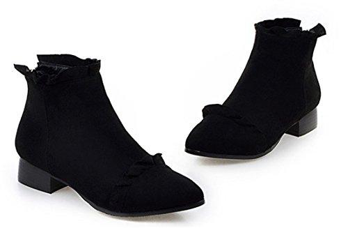 YE Damen Spitze Niedrige Ankle Boots mit Blockabsatz und reißverschluss Hinten 3cm Absatz Nubuck Stiefeletten Schwarz