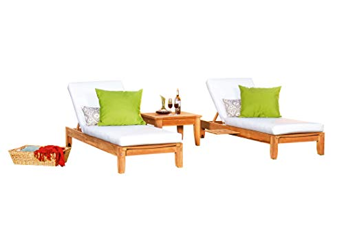 TeakStation Made from A-Grade Teak Wood Atnas Multi Position Sun Chaise Lounger Steamer with Slide Out Tray (Furniture only) #33CLAT