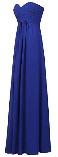 Bislu Robe De Bal En Mousseline De Demoiselle D'honneur Chérie Longue Robe De Soirée Bleu Royal