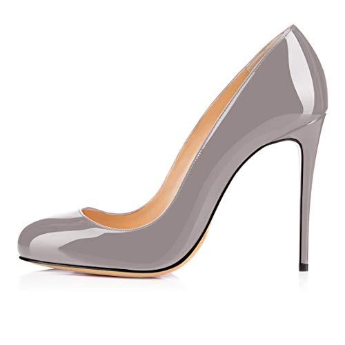 Tacco Col Donna Toe Classiche Grigio Scarpe Heels Round 10cm Elashe Da xqBWpIOwnH