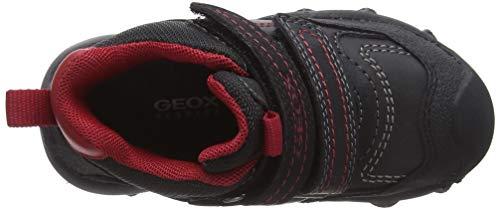 Geox Jungen J BULLER Boy B ABX E Hohe Sneaker, Schwarz (Black/Dk Red C0260), 24 EU 5