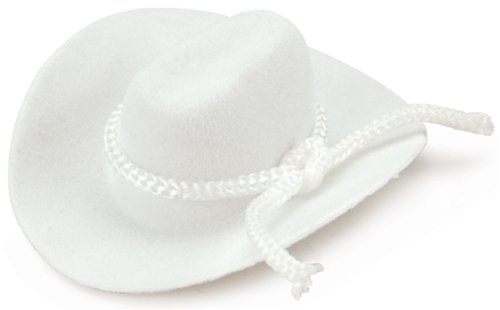 Darice 12731-202 White Felt Cowboy Hat with Rope Detail, 2