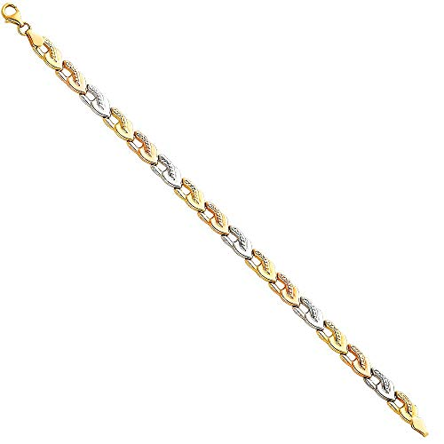 - 14k Tri Color Gold Fancy Link Tennis Bracelet