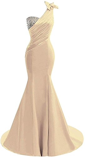 Lily Wedding Womens One Shoulder Satin Mermaid Prom Dresses 2018 Long Formal Evening Ball Gowns D44 Champagne Size 16