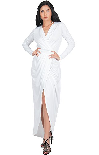 KOH KOH Plus Size Womens Long Sleeve Full Length V-Neck Sexy Wrap Empire Waist Formal Winter Fall Cocktail Wedding Evening Gown Gowns Maxi Dress Dresses, Ivory White XL ()