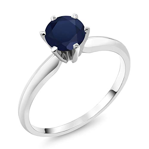 - Gem Stone King 1.10 Ct Round Blue Sapphire 18K White Gold Ring (Size 6)
