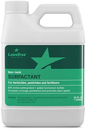 LawnStar Non-Ionic Surfactant + 5% AMS for Herbicides, Pre-Emergents & Fertilizers (32 OZ) – Increase Coverage, Penetration, Prevent Rolloff and Maximize Product Performance – American Made