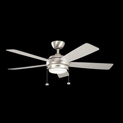 Bellacor Halogen Chandelier (Kichler 300173NI Starkk Ceiling Fan, 52-inch, Brushed Nickel, 5 Reversible Silver/Walnut Wood Blades)