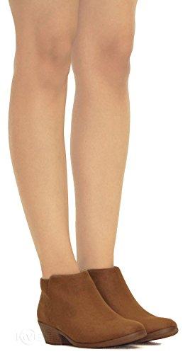 Imsu Toe Cha m Almond Ankle MVE Bootie Women's Low Heeled Cute Shoes Bootie tPqAAwv