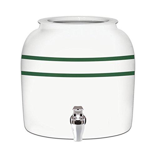 Striped Ceramic (Brio Striped Porcelain Ceramic Water Dispenser Crock with Faucet - LEAD FREE (Green Stripe))