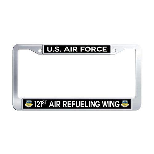 Framespolish US Air Force 121st Air Refueling Wing Auto License Cover Holder Stainless Steel License Frame Car ()