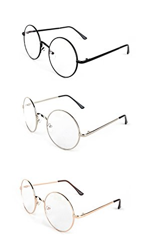 3 Pairs Round Wire Clear Lens Eye Glasses Costume Accessory (3 Pairs) (Geek Costume Accessories)