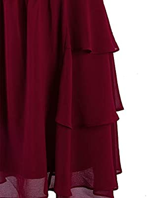 VIJIV Womens 1920s Inspired Flapper Dress High Tea Great Gatsby Maroon with Tiered Skirt 20s Dress