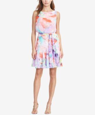 Lauren Ralph Lauren Womens Floral Print Sleeveless Casual Dress Pink 12