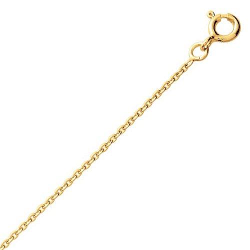 So Chic Bijoux © Chaîne Collier Longueur 55 cm Maille Forçat Rond 1,3 mm Or Jaune 750/000 (18 carats)