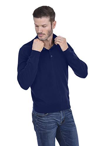 Cashmeren Men's Cashmere Wool Button Mock-Neck Classical Fashion Polo Collar Sweater Pullover (Navy, Medium) ()