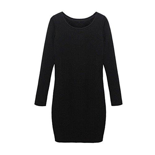 SODIAL(R) Automne / Hiver Femme Mirco Velours Col Rond Laine Epaississant Sexy Robe Jupe Noir L