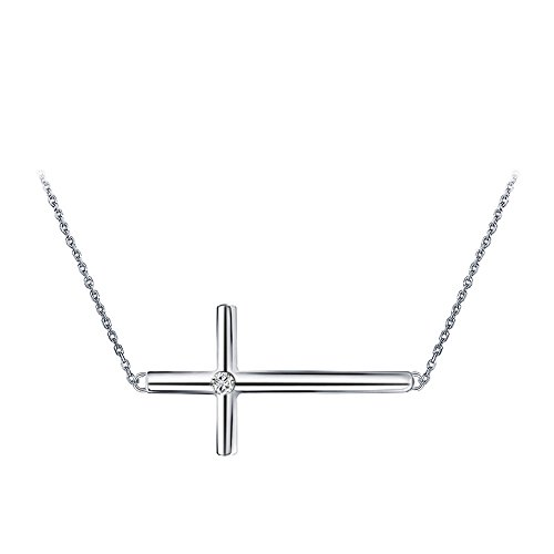 - Furious Jewelry 925 Sterling Silver Concise Sideways Cross CZ Pendant Necklace, Rolo Chain 18'
