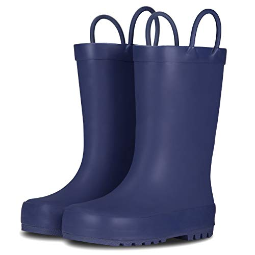 Cone Matte - LONECONE Elementary Collection - Matte Rain Boots with Easy-On Handles for Toddlers and Kids, Ribbon Blue, Little Kid 12
