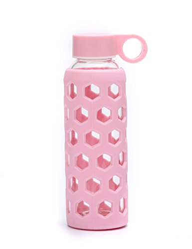 DOUYING Pyrex Glass Bottle with Silicone Sleeve 12 OZ & Stainless Steel Lid, Modern Drinking Reusable Travel Bottles, Juicing Containers, Leak-Proof Water/Beverage Bottles (Pink)