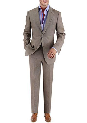 DTI BB Signature Italian Men's Linen Suit Modern Fit 2 Button Jacket Plain Pant (38 Short US / 48S EU/W 32