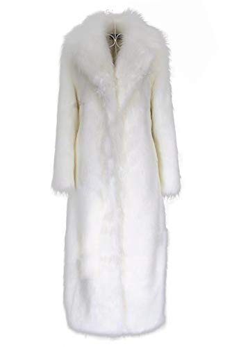 - Old DIrd Women's Winter Fashion Outerwear Lapel Full-Length Maxi Fluffy Faux Fur Coat White m