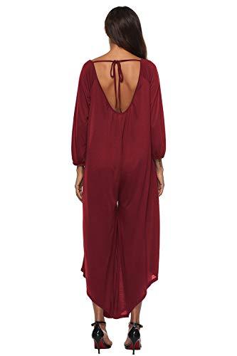 Neck Womens Kelice V Low Rosso High Deep Romper Pantaloni Con Tute fZnTOwq7