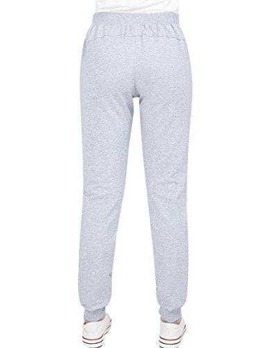 Gris Clair 3 Youlee Femmes Pantalons Taille Droits Décontractés Style Elastique q7BAqwx8