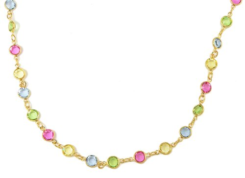 Multicolored Austrian Crystal - 18 Inch (Unisex) 18KT. Gold Overlay Multi Colored (Green, Pink, Blue, Yellow) Austrian Crystal (Swarovski) Chain - 5 MM Chain - LIFETIME GUARANTEE - Sizes 6 Up to 22 Inches (Quarter Inch Increments Available) - Custom Sizes - Cut to Order - Inch of Gold Chains - Lobster Claw Clasp